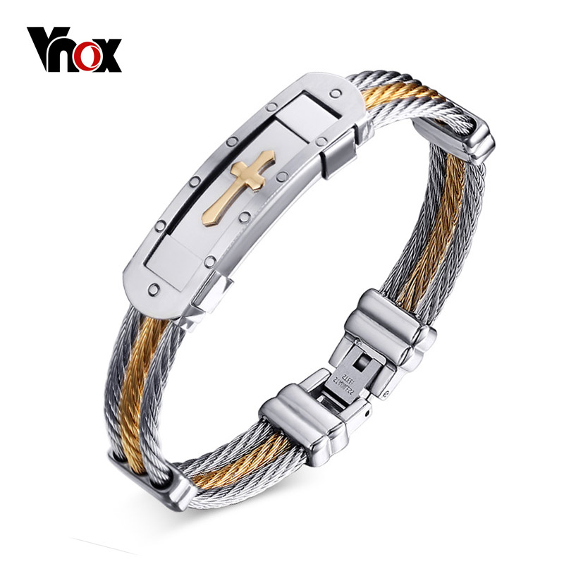 Vnox Cross Cuff Bracelet Men Jewelry 20cm Stainless Steel Wire Chain Souvenirs and gifts for Male apple iphone 6s 16gb серый космос