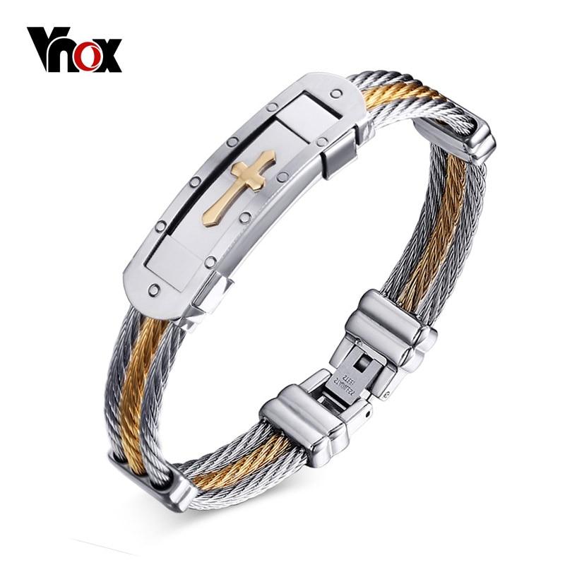 Vnox Quer Manschette Armband Männer Schmuck 20 cm Edelstahl Draht Kette Souvenirs und geschenke für Männer