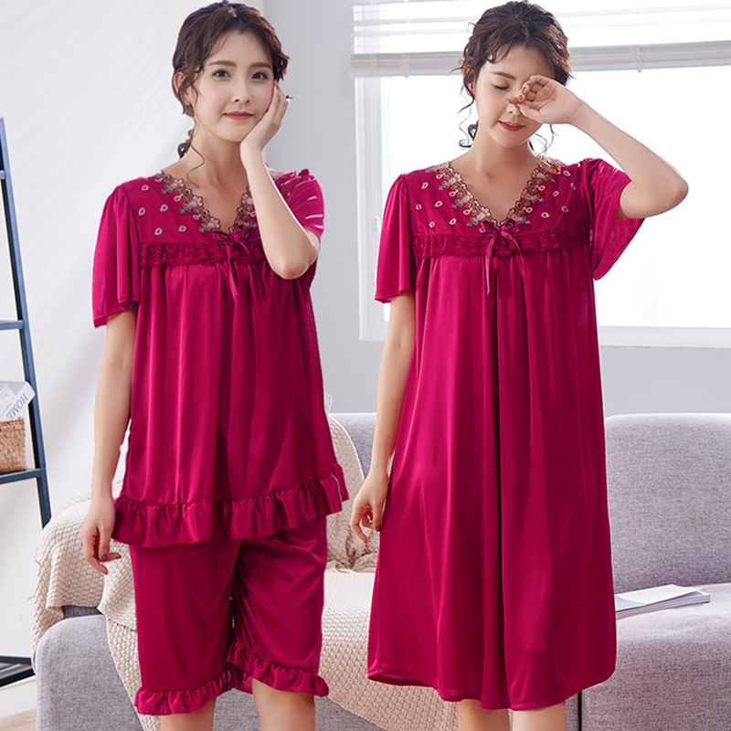Free Shipping 2018 Women Summer Plus Size Ice Silk Nightgown Female Large  Size Short Sleeve sleepwear Set and Homewear Pajamas-in Pajama Sets from  Underwear ... 1dfe14c46803