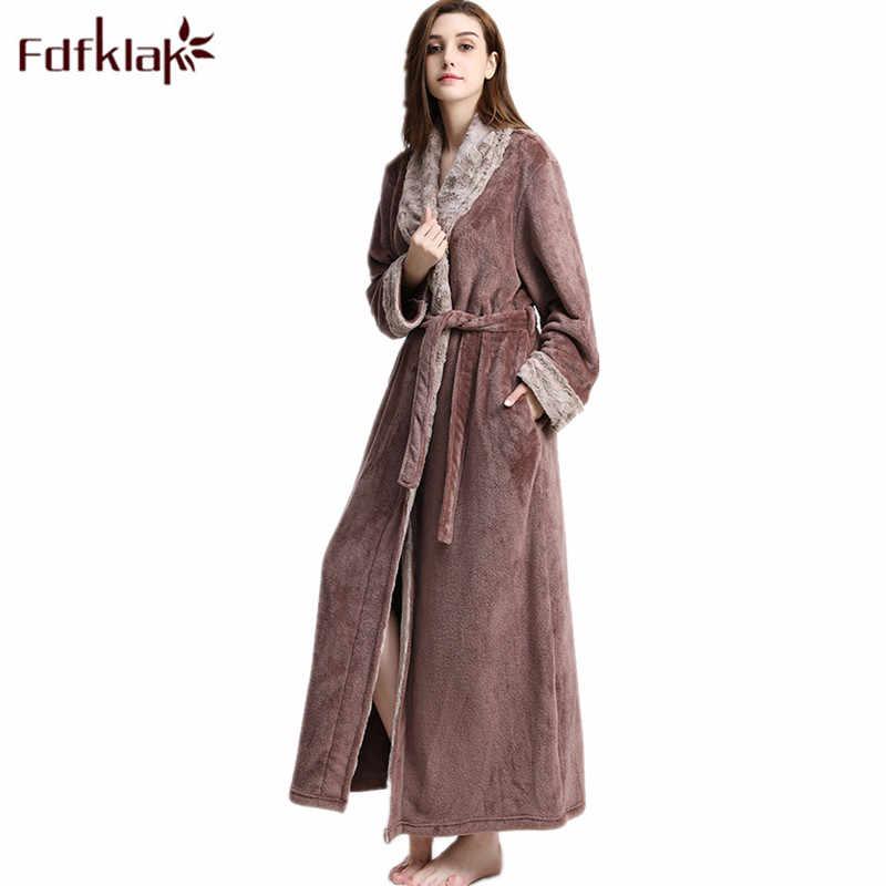 40eae81e16 Fdfklak 2018 New Winter Long Robe 2018 Flannel Bathrobe Women Gown Lingerie  Robe Womens Sleepwear Robes
