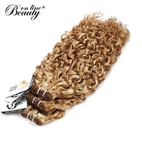Beauty On Line Ombre Brazilian Water Wave Hair 1 Bundle Only Highlight Blonde Bundles P27/613 Remy Human Hair Weave Extensions
