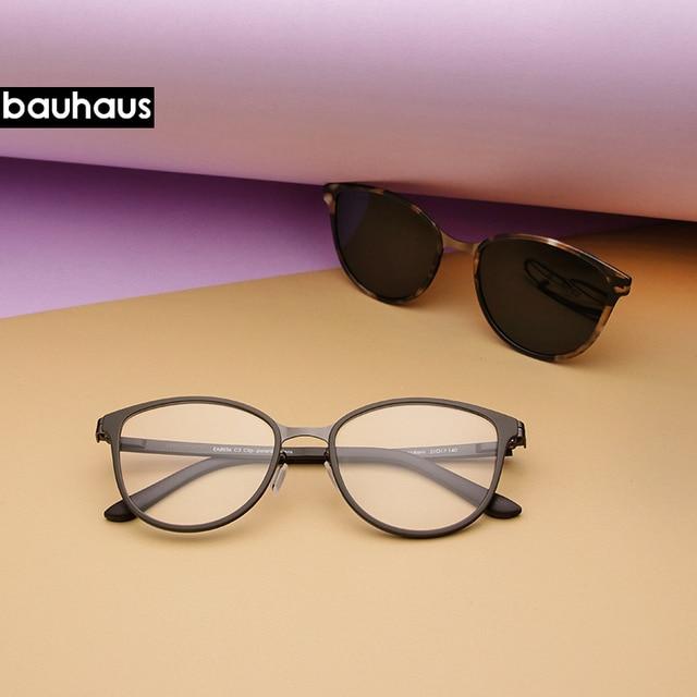 Bauhaus Cat Eye Eyewear Frames Women frame 3in1 memory core inside Polarized Magnet Clip sunglasses optical glasses