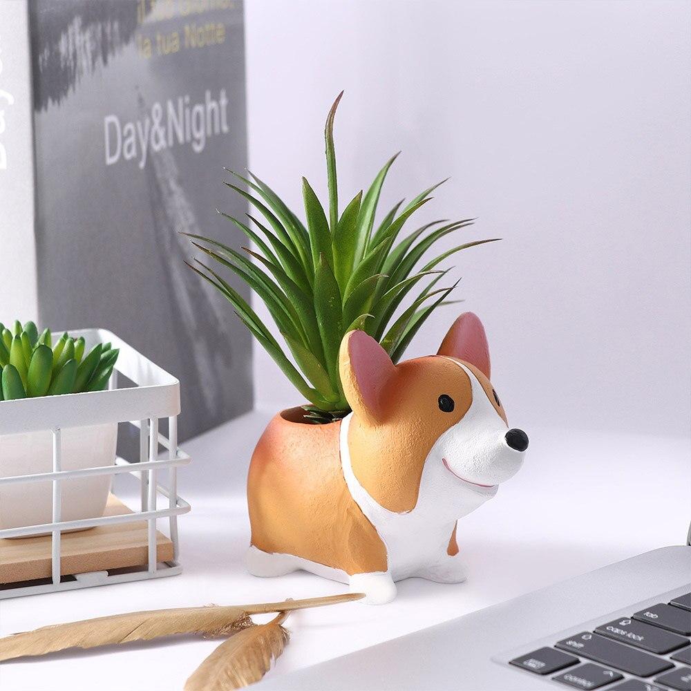 Corgi Dog Planter European Style Succulent Plants Planter Pot Mini Bonsai Cactus Flower Pot Home Decor Craft