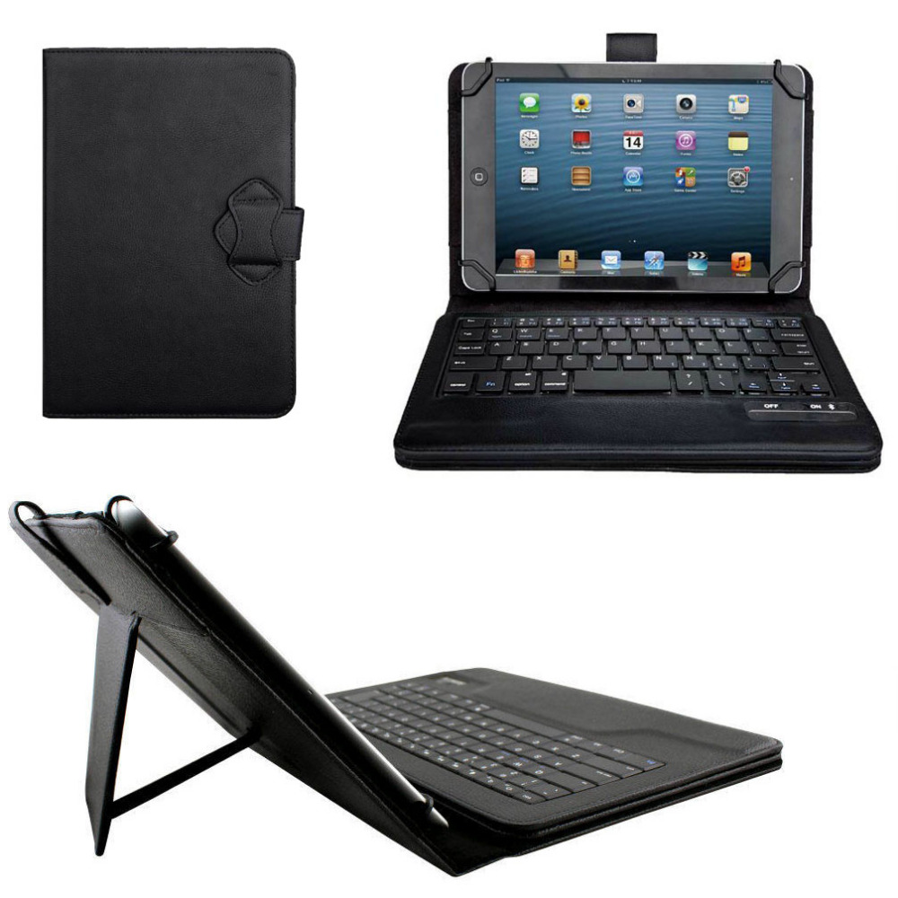 Universal Dechatable Bluetooth Keyboard & PU Case Cover With Stan for LG G Pad 2 8.0 V498 V480 V490 8 universal 61 key bluetooth keyboard w pu leather case for 7 8 tablet pc black