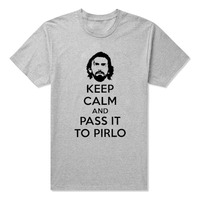 KEEP CALM AND PASS IT TO PIRLO PRINTED T SHIRT FUNNY FOOTBALL ITALY JUVENTUS More Size