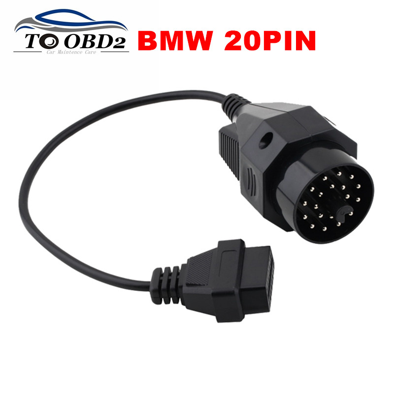 OBD1 OBD2 Diagnostic Adapter For BMW 20Pin to OBD2 16Pin Female Connector Full Pin Fits BMW 20 Pin to OBDII 16 Pin FREE SHIPPING adapter
