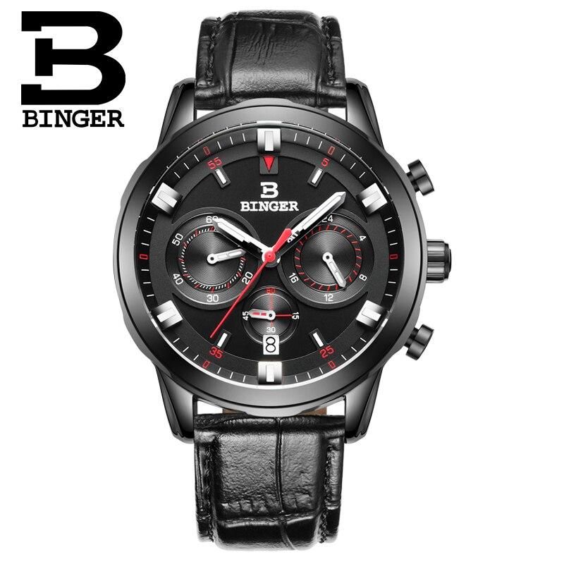ФОТО 2016 Switzerland Luxury Watch Men BINGER Brand Quartz  Wristwatches Chronograph Diver Glowwatch Leather Strap Gift Watch B-9011G