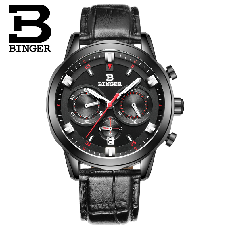 2017 Luxury Watch Men BINGER Brand Quartz  Wristwatches Chronograph Diver Glow watch Leather Strap Gift Watch relogio masculino бра дубравия эмма 191 63 21 1w