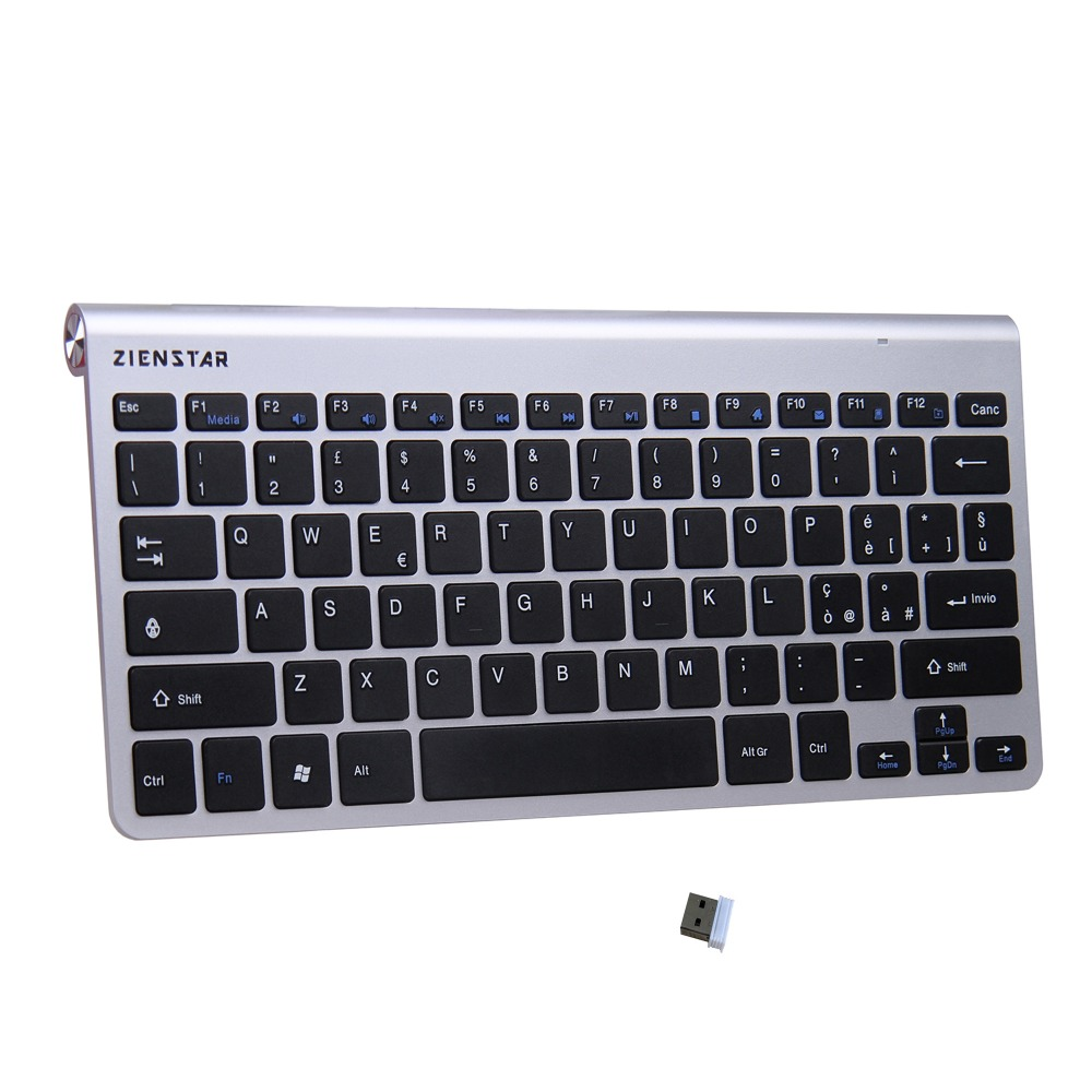 Zienstar Italian Language Ultra Slim 2.4G Wireless Keyboar for Macbook/PC computer/Laptop / Smart TV with USB Receiver