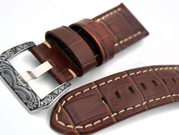 Handmade Retro Genuine Leather Watch Band Strap for P Watch 24mm  With Silver Stainless steel Buckles