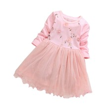 Kids Dress Baby Girls Dress Long Sleeve Princess Clothes Baby Floral Print Children Girls Dresses Cute Mesh Princess Dresses baby girl clothes pretty girls dress lovely floral print long sleeve flower kids dress princess dresses spring autumn 2 colors
