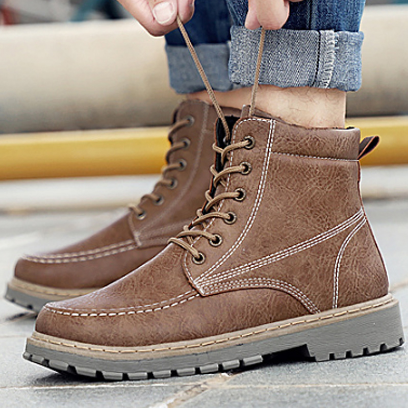 Fashion boots men winter warm leather ankle martin boots male non-slip plush snow boots 2018 high quality sewing