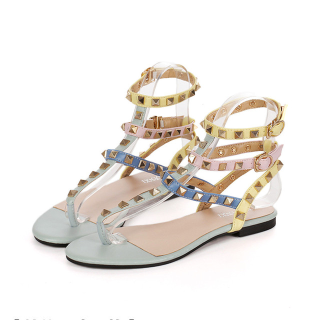 1f7e3e0a9 2017 Fashion Italy design brands women flats sandals rivet Rainbow  multicolor flip flops women gladiator sandals high quality