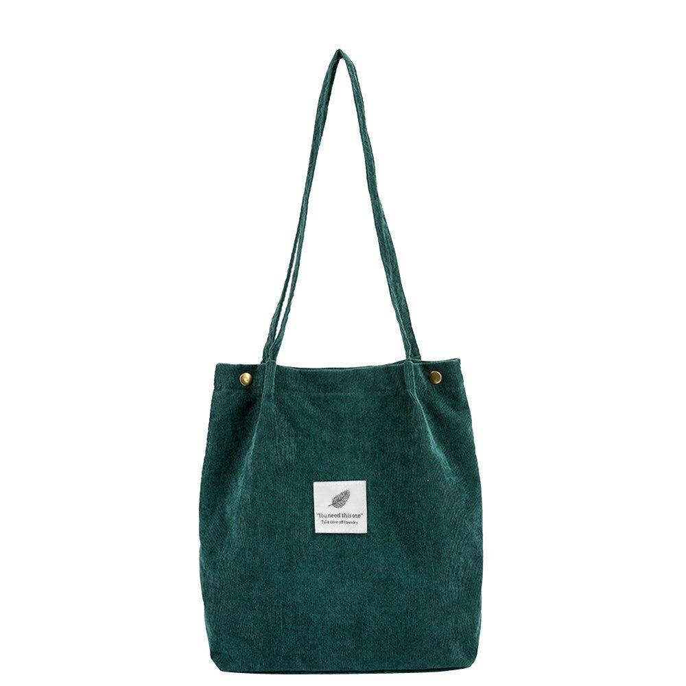 Shoulder-Bag Beach-Bag Corduroy Tote High-Capacity Solid-Color Casual Women Ladies Foldable