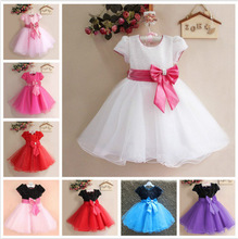 2016 New Brand Girl Dress 2-12 Years Patchwork Bow Baby Girls Dress Vestidos 10 designs Wedding Party Baby Clothes Free Shipping