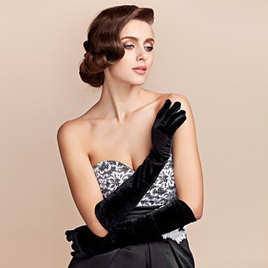 Gold Velvet Gloves In The Long Section Of Warm Blanket Etiquette Ladies Thin Banquet Nobility Elegant Banquet Gloves