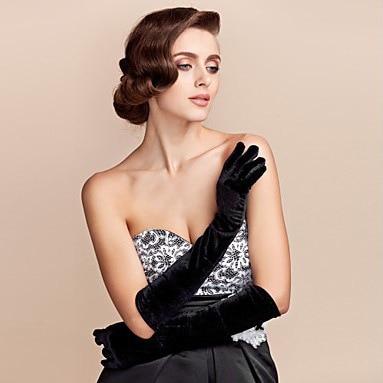 Gold Velvet Gloves In The Long Section Of Warm Blanket Etiquette Ladies Thin Banquet Nobility Elegant Banquet Gloves