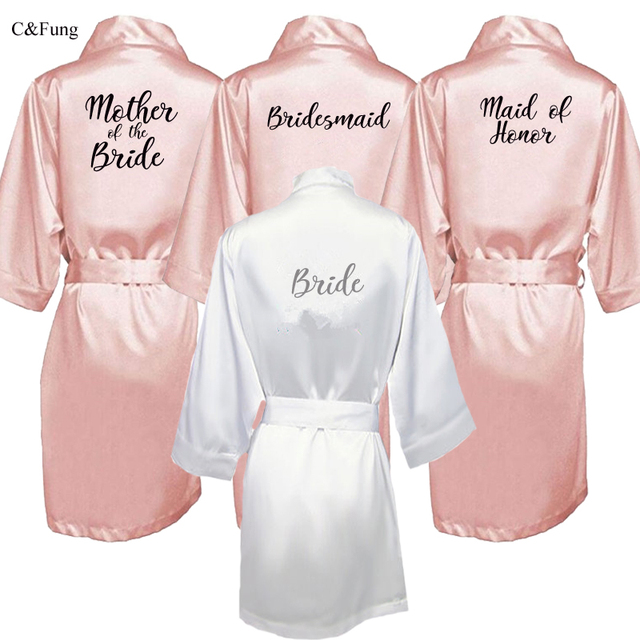 e2fa106746 C Fung new bride bridesmaid robe with white black letters mother sister of  the bride wedding gift bathrobe kimono satin robes