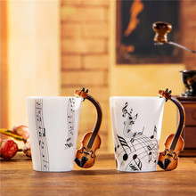 Kreative Violine Musik Porzellanbecher 240/400 ml Keramische Kaffeetasse Porzellan Tee Tasse Zakka Neuheit Für Geschenk Cafe Teatime Büro