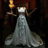 Meeo Novias Robe De Mariage 2017 Sexy Spaghetti Strap Lace Detachable Train Wedding Dresses Flowers Vestido