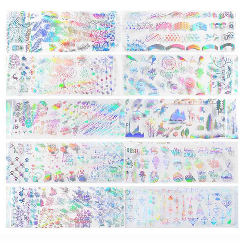 10 Pcs Colorful Sogno Autoadesivo Zucchero Stagnola Del Chiodo Set Adesivo Autoadesivo di Trasferimento Del Modello Personalizzato Avvolge Cursori Unghie Artistiche