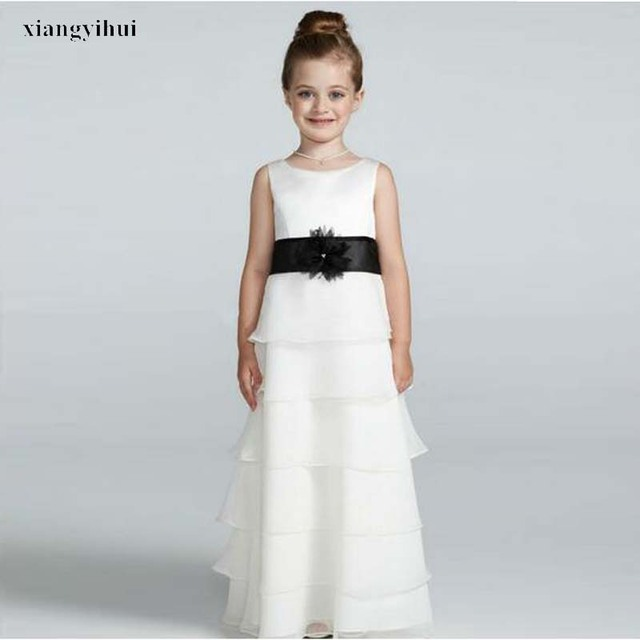 Vintage Style O neck 6 Layers White Flower Girl Dress With Black ...