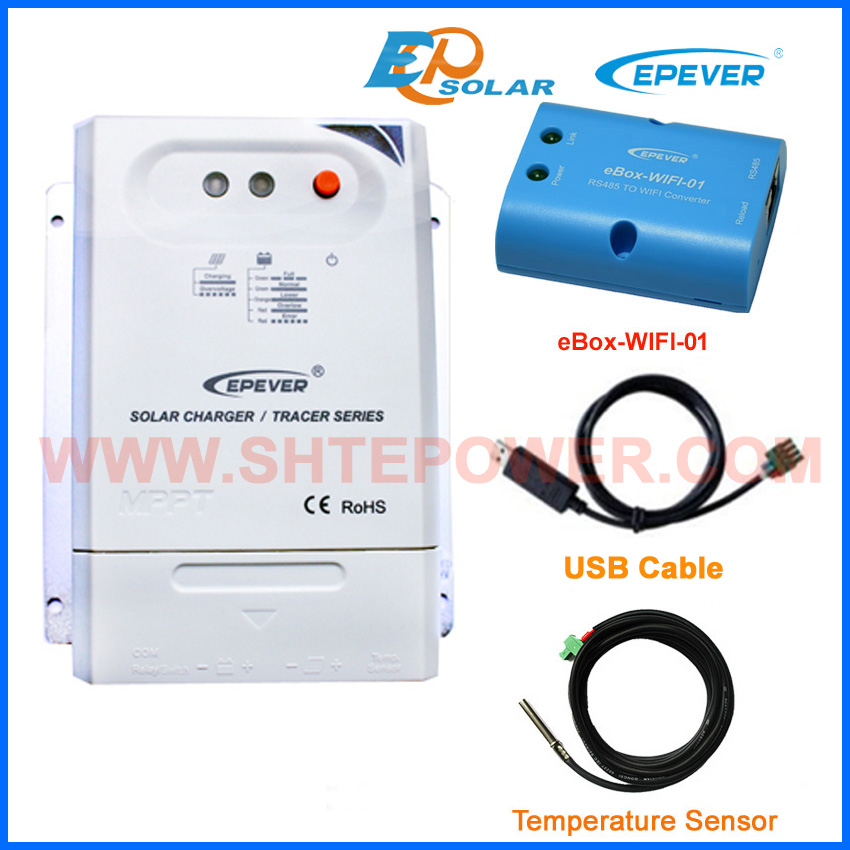 30amp MPPT EPEVER charger solar controller Tracer3210CN USB cable+temperature sensor cable eWIFI-BOX-01 30A 12v 24v auto work epever mppt solar controller tracer2210cn 20a 12v 24v auto type with usb connect computer and temperature sensor