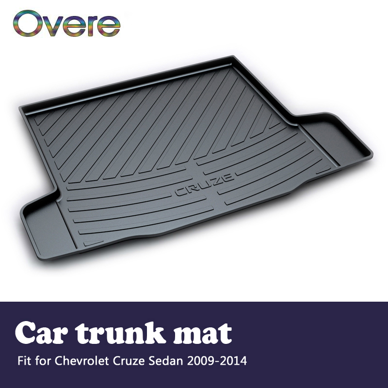 Overe 1Set Car Cargo rear trunk mat For Chevrolet Cruze Sedan 2009 2010 2011 2012 2013 2014 Boot Liner Anti-slip mat Accessories areyourshop auto cargo mat boot liner tray rear trunk sticker dog pet covers for kia soul 2009 2010 2013 car covers