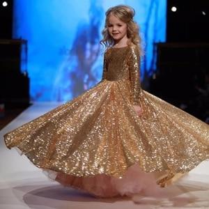 Image 2 - Vestidos dourados para meninas, vestidos elegantes para meninas, de baile, aniversário e festa 12 y