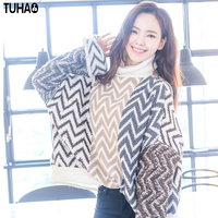 TUHAO Turtleneck Flare Sleeve Sweaters Loose Sweater Women Korea Style Geometric Pullovers Casual Femme Clothes Winter MF31