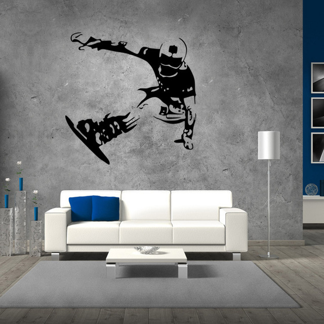 US $6.59 |Skating Board Tee Wall Stickers Boys Bedroom Background Wall  Decals Snowboard Skiing Wallpaper Home Decor Wall Art Mural Poster-in Wall  ...