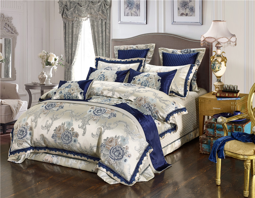 Modern Embroidered Bed Flat Sheet Set Silver Luxury Silk Jacquard Cotton Bedding Sets 4/6/10Pcs King Queen Size Duvet Cover Sets