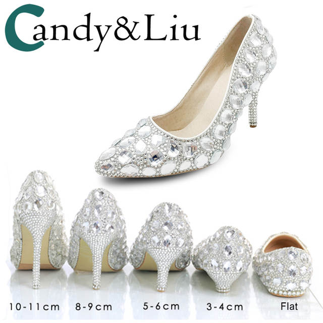 17701b24390 placeholder Wedding Shoes Female Autumn Crystal shoes Bridal Wedding Dress  Matches Women s Silver Heels Pointed Toe Thin
