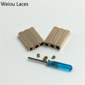 Image 4 - Weiou (20pcs/5 Sets) Mirror Gold Silver Metal Aglet Screw On Tips Replacement For Shoelace Sneakers Shoe String w/screw Driver