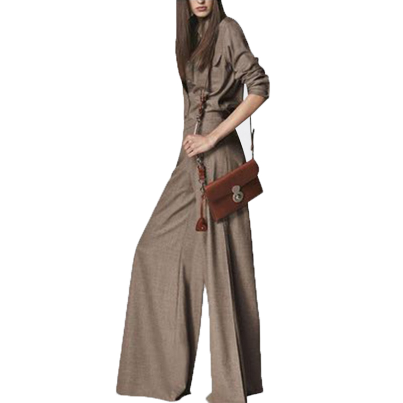 높은 품질 새로운 패션 2019 디자이너 활주로 셔츠 세트 여자의 긴 소매 턴 다운 칼라 블라우스와 넓은 다리 바지 세트-에서여성 세트부터 여성 의류 의  그룹 3