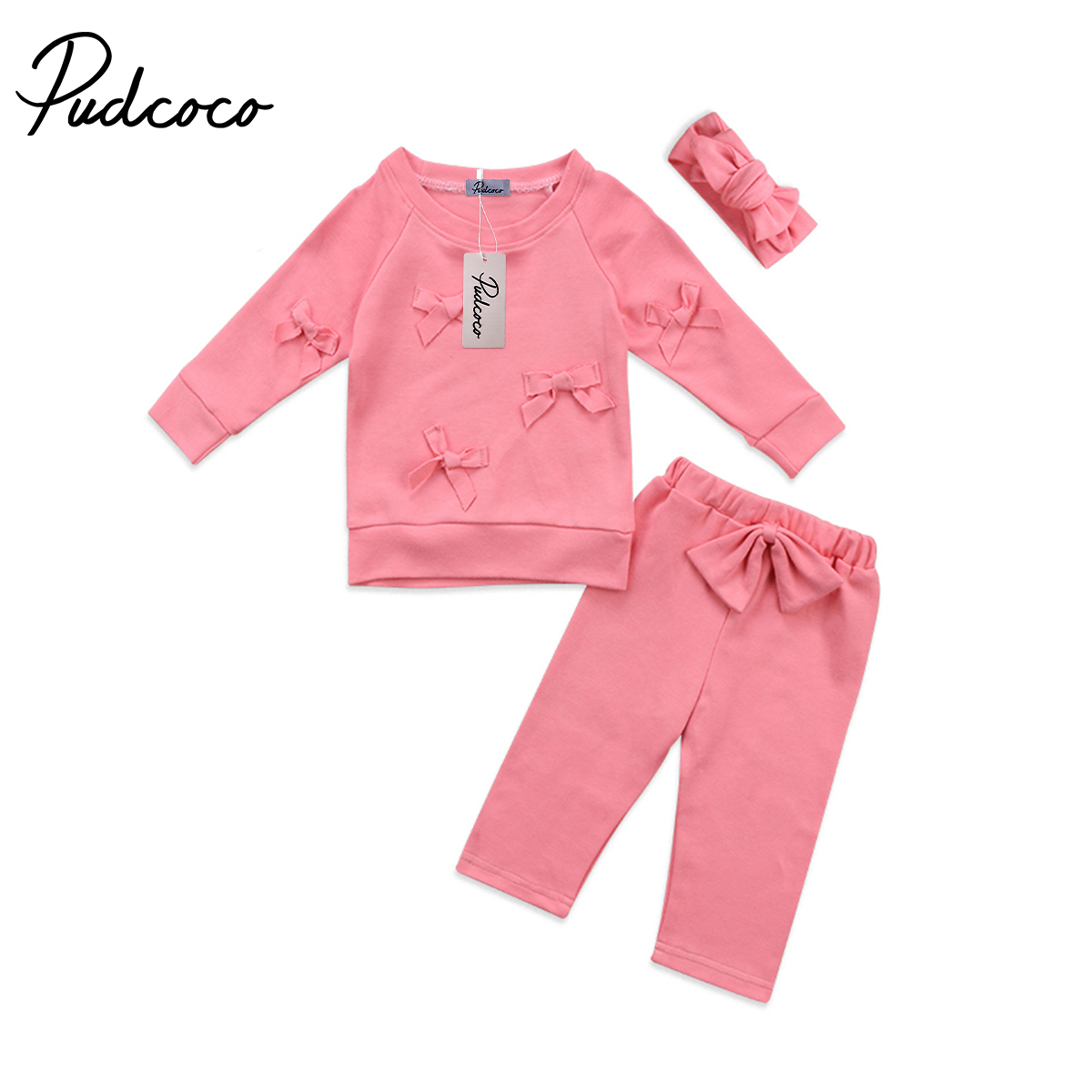2018 Brand New Toddler Infant Child Kids Baby Girls Flower Top Blouse Pants Leggings Headband 3Pcs Bow Outfits Set Clothes 2-7T