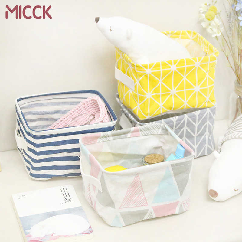 MICCK Foldable Desktop Storage Basket Sundries Storage Box Underwear Cosmetic Organizer Jewelry Scarf Socks Storage Basket Bags
