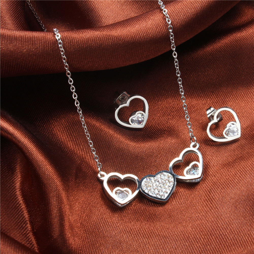 XUANHUA Stainless Steel Heart Necklace And Earrings Jewelry Sets With Stones 2019 For Women Jewellery Fashion Necklace Gift Set