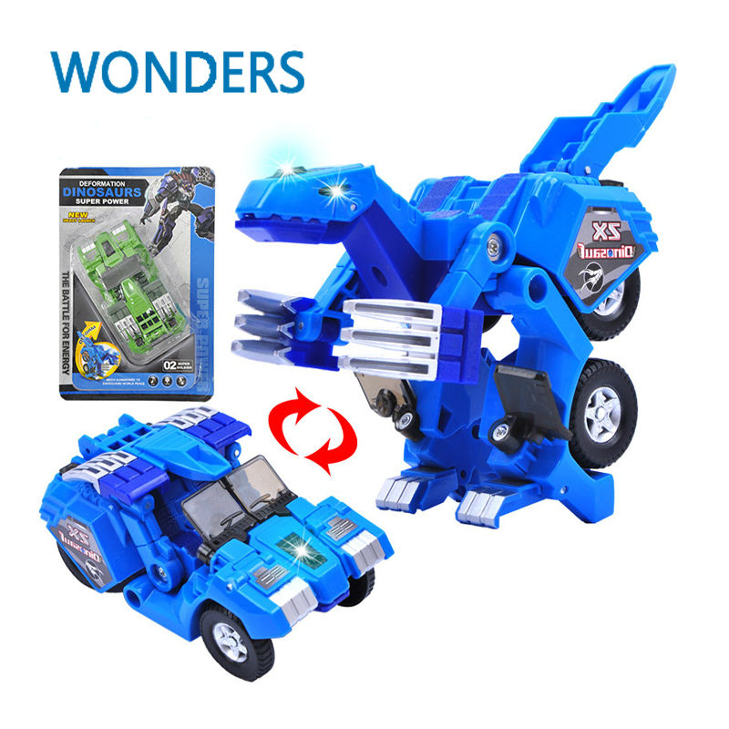 Dinosaur Transformation Plastic Robot car  Action Figure Fighting vehicle with sound and LED light Toy Model Gifts For Boy&Kids dinosaur transformation plastic robot car action figure fighting vehicle with sound and led light toy model gifts for boy
