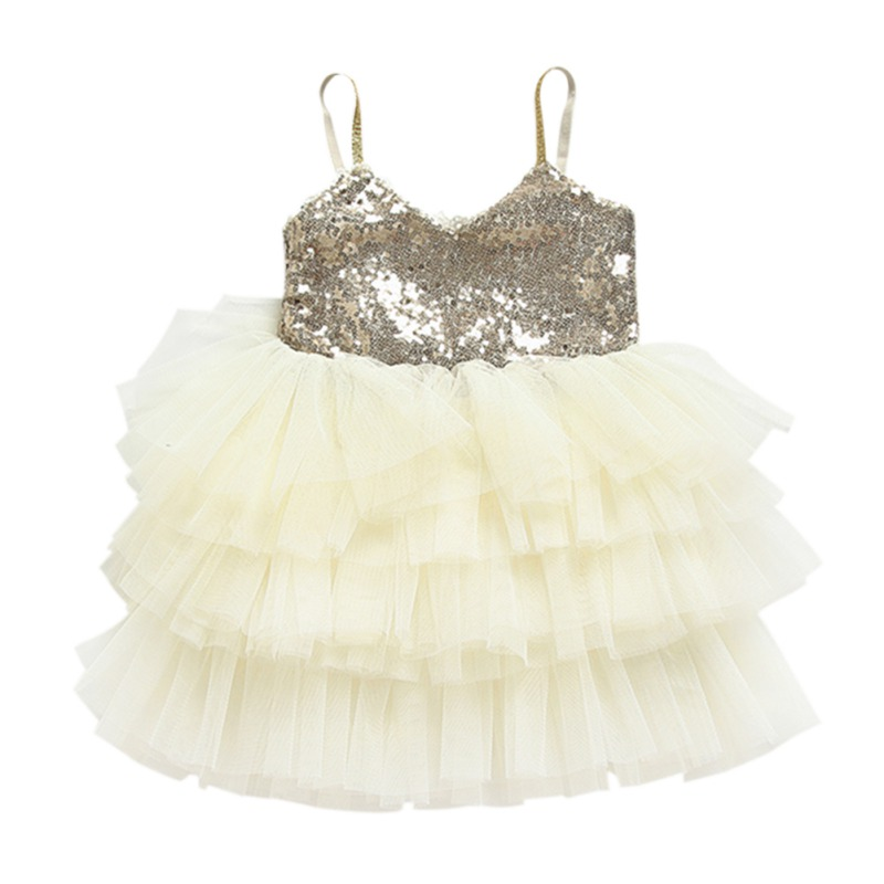Baby Girl Princess Dress Layered Bling Vestidos Wedding Dress For Girls Kids Clothes Children Clothing Sleeveless Sequin Tutu