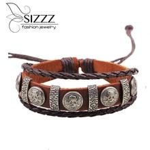 Brand Cool Genuine Leather Braided Friendship Skull Bracelet