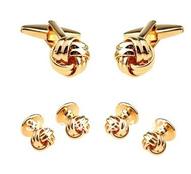 Father Day Novelty Engraved Plating Knot Gold Cufflinks Tuxedo Stud Sets