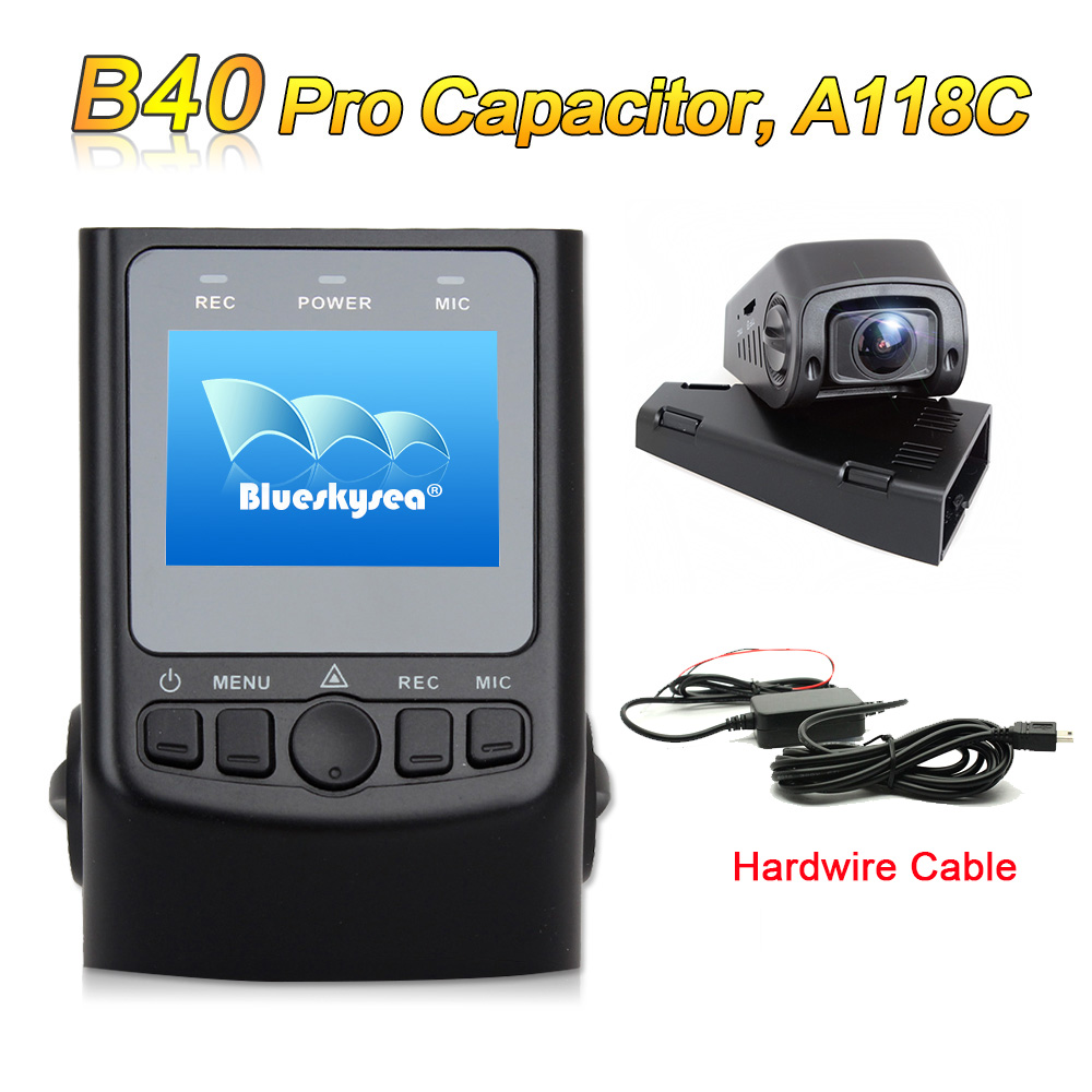 Free Shipping Blueskysea B40 PRO Capacitor Version A118C H 264 HD 1080P Car Dash Camera DVR