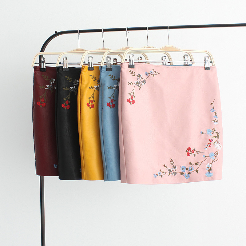Vintage Embroidery Faux Leather Skirt Floral Red Wine Straight Female Mini Skirt