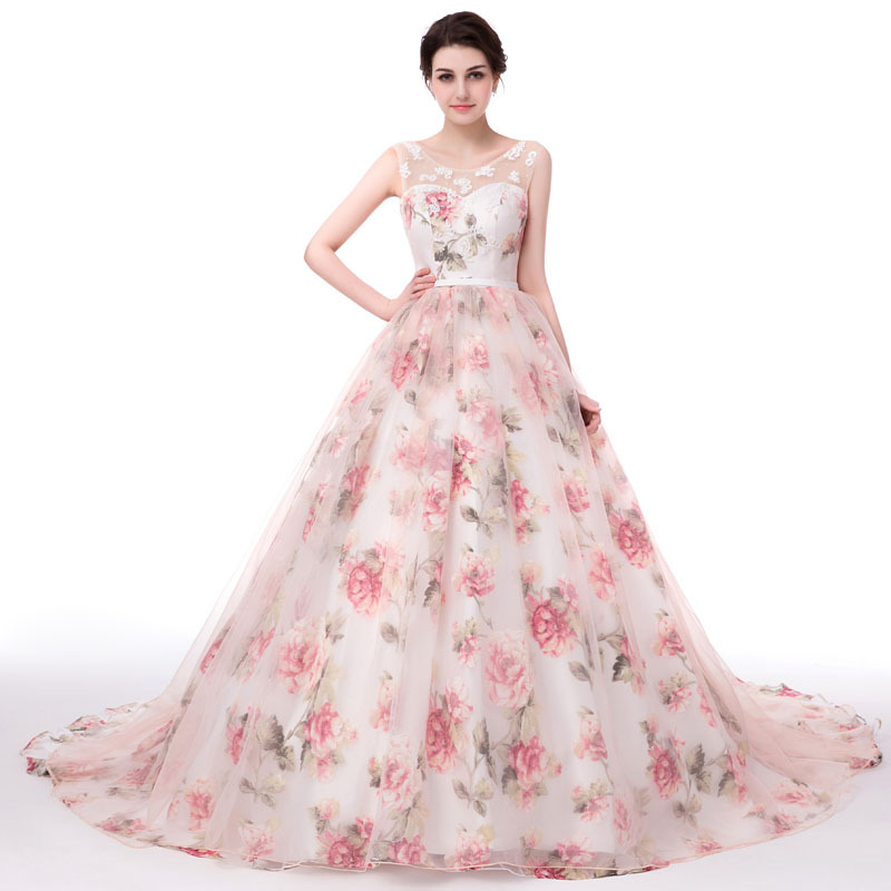 Beautiful Princess Wedding Gowns: Beautiful Flower Print Floral Dresses For Wedding Cheap