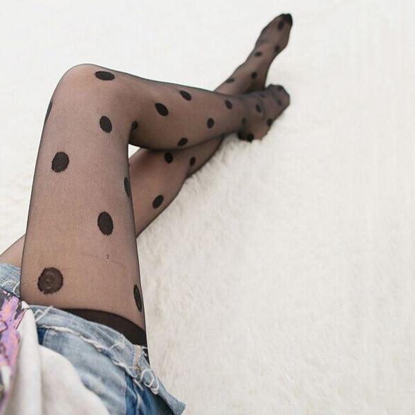 Ladies Sheer Black Polka Dot Stockings with Lace Elastic Upper