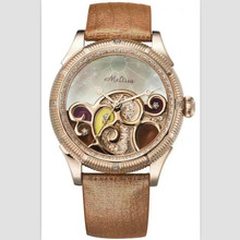 Melissa Brand Designer New Enamel Wave Watches for Women Vintage Fashion Dress Wrist watch Genuine Leather Quartz Montre Shell