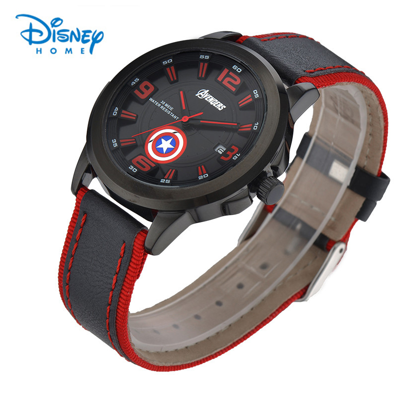 Disney Watch Men Military Sports Quartz Watches Luxury Brand Fashion Casual Auto Date Week 3ATM Waterproof Nylon Leather Watches 60%off fashion silicone bracelet watch olevs men classic design military watches quartz auto date diver sports wristwatch 2017