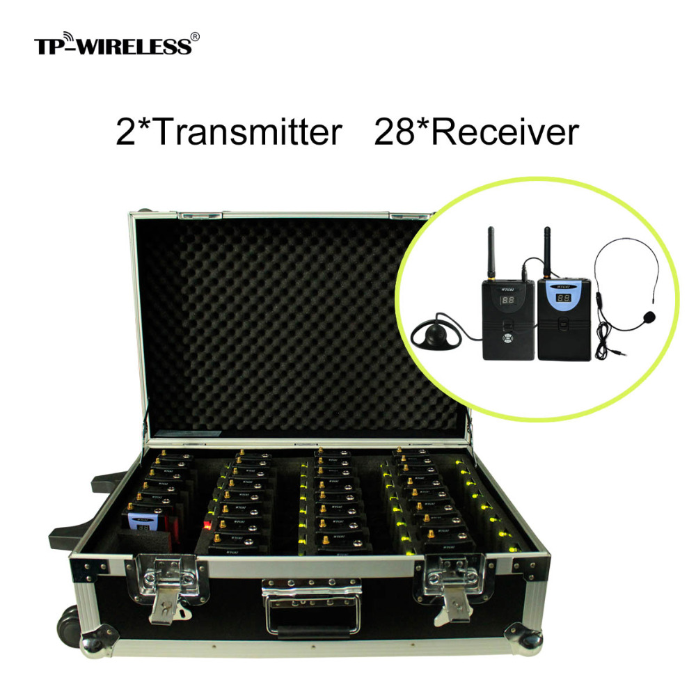 TP-WIRELESS 2.4GHz Wireless Tour Guide System With a Portable Charging Case (2 Transmitter and 28 Receivers) Audio Translation tp wireless portable pull rod 2 4ghz tour guide system charging case for 1transmitter 29receivers tour guide items