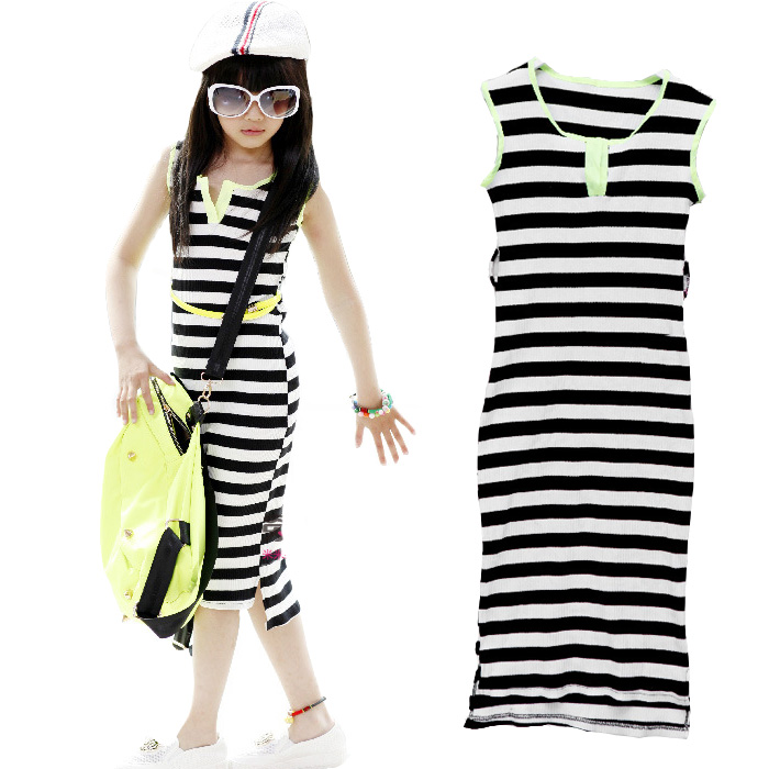 Big Girls Dresses Summer Casual Style Children Clothing Sleeveless Long Length Girl Vest Dress Striped Kids Clothes For 6-14Y summer style girls clothing for 6 14 years old girl baby girls pony dress sleeveless girl children clothing
